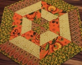 Fall Quilted Centerpiece Table Topper Autumn End Table Decor Orange Brown Beige Green