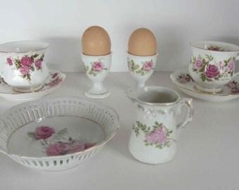 Two vintage porcelain egg cups, Boiled eggs holder, China egg cups