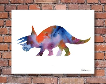 Triceratops Art Print - Abstract Dinosaur Watercolor Painting - Dinosaur Wall Decor