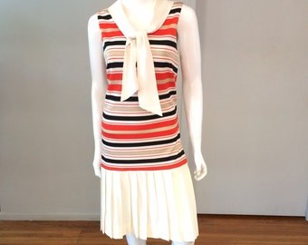 Vintage 1960's Nautical/Sailor Striped Drop Waist Dress with Pleated Skirt