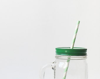 Green Straw Hole Lid for Mason Jars