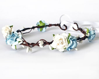 Blue and White Rose Floral Crown Halo Flower Girl Bridesmaid Garland