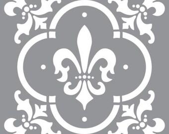 """12"""" x 12"""", Americana Decor Stencil-Fleur de Lis Tile, Reusable Stencil"""