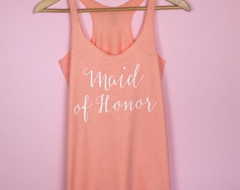 Maid of Honor Tank Top. Bridal Party Tank. Bridesmaid Shirt. Bridesmaid Tank Top. Bridal Shirts. Wedding Party Shirts. Bachelorette Tanks.