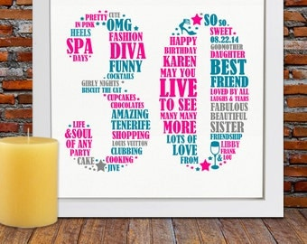 Personalized Birthday Gift - 30th birthday, 30th birthday gift, personalized birthday design, thirty birthday