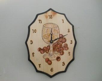 Woodburned oval clocks - moose - wine- hummingbirds