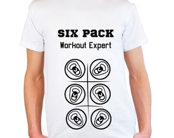 Mens & Womens T-Shirt with Six Pack Beer Cans Workout Expert Design / Bodybuilder Shirts / Bodybuilding Fitness Shirt + Free Decal Gift