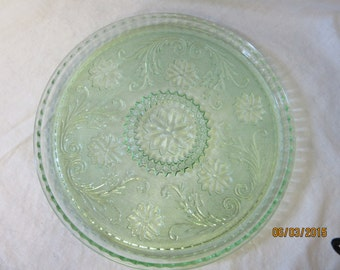 Cake Plate Tray by Duncan Miller Green Glass Vintage