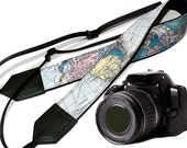 DSLR / SLR Padded Camera Strap. World Map Camera Strap. Camera accessories. Great gift. Strap for Nikon, Canon, Sony & other cameras.
