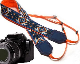 Camera strap inspired by Native American. Southwestern Ethnic Camera strap. Yellow and blue DSLR / SLR Camera Strap. Camera accessories.