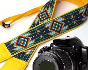 Camera strap inspired by Native American.  Southwestern Ethnic Camera strap.  Bright DSLR / SLR Camera Strap. Camera accessories by InTePro