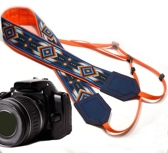 Native American (inspired) Camera strap (not beaded) .  Southwestern Ethnic Camera strap.  DSLR Camera Strap. Camera accessories.
