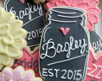 1 dozen wedding or wedding shower bridal shower mason jar and flowers cookies!