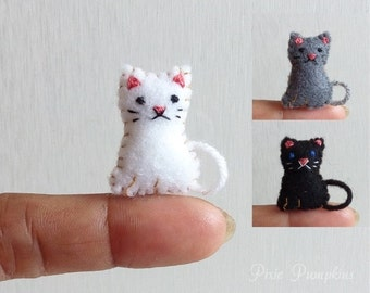 Felt Animal Plushie, Tiny Felt Cat, Miniature Felt, Felted Miniature Kitty, Handmade Felt Cat, Tiny Kitten, Cat Mini Felt Stuffed Plush Toy