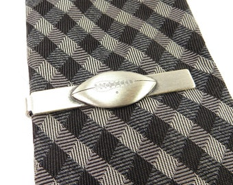 Football Tie Bar- Football Tie Clip- Vintage Style- Sterling Silver Brushed Finish