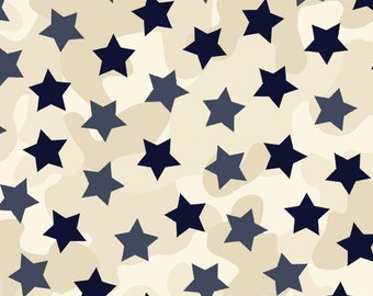 Homefront Girl, Be Strong, Be Brave Military Cotton Fabric Navy Stars by Quilting Treasures