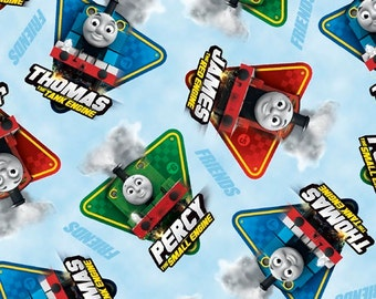 Thomas The Train on Blue Cotton Fabric by Quilting Treasures