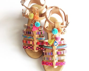 Gladiator ethnic leather sandals