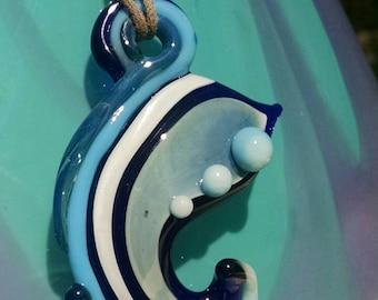 Paisley inspired glass pendant