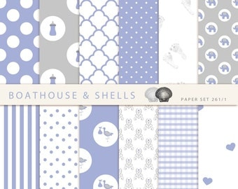 24 BABY BOY Scrapbooking PAPERS, Scrapbooking digital paper pack in baby boy blue and grey, printable, instant download - 24 papers - 261