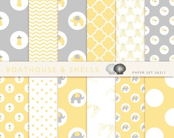 24 BABY YELLOW & GREY Scrapbooking Papers, Scrapbooking digital paper pack in yellow and grey, printable, instant download, 24 papers, 263