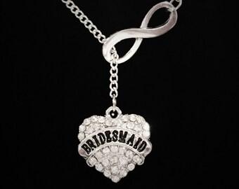 Wedding Gift, Infinity Crystal Bridesmaid Y Lariat Necklace