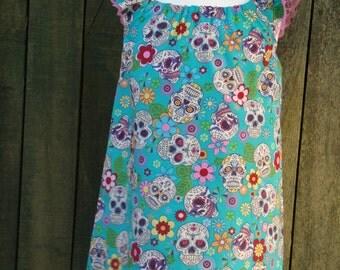 Turquoise Rockabilly Girls Flutter Sleeve Dress with Sugar Skulls - Size 4T