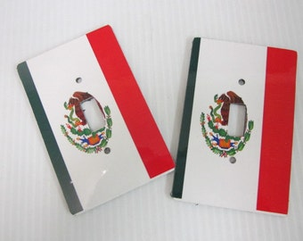 2 light switch covers, Mexican flag design