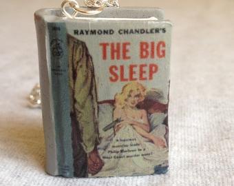 The Big Sleep polymer clay book charm necklace