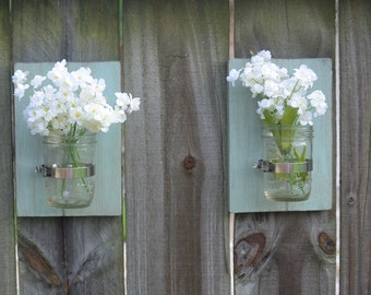 Set of 2 Mason Jar Wall Sconces, Mason Jar Wall Decor, Mason Jar Wall Vase