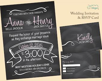 Chalk Board Wedding Invitation, Teacher Wedding Invitation, Black Wedding Invitaiton, Fun Wedding Invitation, Modern Wedding Invitation