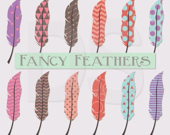 Feather Vector Clipart, Feather Clip Art, Geometric Hipster Clip Art, EPS Clipart, PNG Files, JPEG