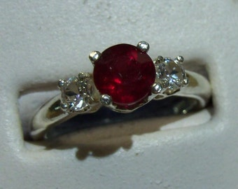 Ruby/White Sapphire Sterling Silver Ring - Size 7 - It is just beautiful