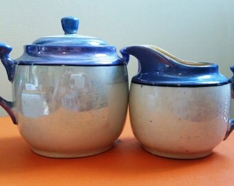 Lusterware Cream and Sugar Bowl Made in Japan Blue and Luster Cream Color