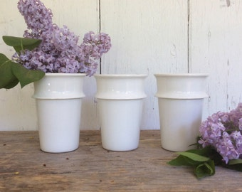 Vintage industrial white porcelain laboratory cups, Coors USA