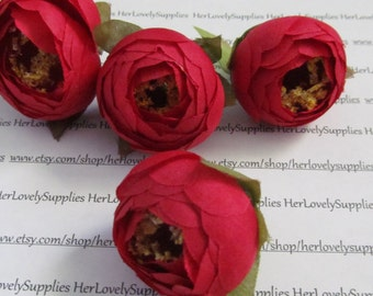Mini Buds Red /  Flower Head / Millinery Supply / Artificial flower / Mini flower Bud