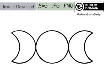 Geometrical Triple moon symbol. Instant download clipart SVG PNG and JPG files