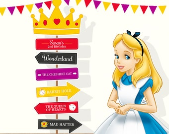 Personalized Red Alice in Wonderland arrow sign (digital file)