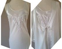 S / Sheer Chiffon Bridal Set / Long White Kimono Robe & Nightgown / Wedding Lingerie / Small / FREE Shipping