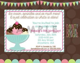Ice Cream Party Printable Invitation 5X7- Party Invite- Ice Cream Party- Make Your Own Sundae Party- Pink & Mint Green Invitation