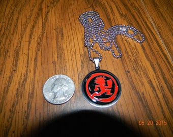 "New-Fresh ICP ""Hatchetman  inside""  stainless steel pendant,red and black enamel with a 30 inch ball chain."