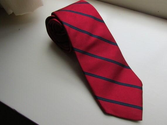 Vintage Repp Silk Tie Mens Necktie Neckwear Ivy League Investment Banker Striped Red Blue Preppy Prep School Valentine's Day Gift