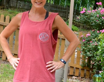 New Colors Added---Comfort Color Pocket Tank/ Monogrammed/Bridesmaid Gift/ Beach Cover-Up