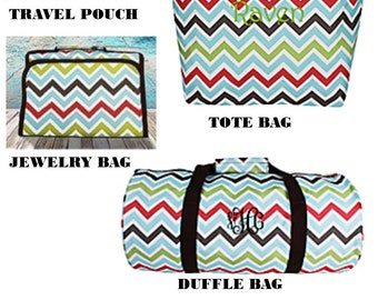 SALE---Multi Colored Chevron Tote Bag- Duffle- Jewelry Bag-Cosmetic Bag Collection/Monogrammed / Gift Idea ----