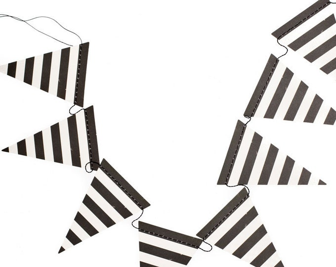 Black and White Pennant Banner Garland, Black and White Stripes Banner, Kate Spade Inspired Birthday Party Banner Bunting HWP105