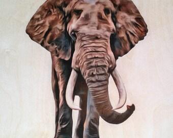 Elephant Wall Art - Elephant Wall Hanging - African Elephant Artwork - 12x12 Elephant Picture - Safari Animal Wall Decor - Original Art