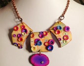 """Polymer clay, necklace, """"In the garden..."""", unique handmade"""