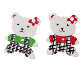 "Wooden Assorted Teddy Bear Design Sewing Buttons.35.0mm(1 3/8"") x 28.0mm(1 1/8""). Ideal for Sewing, Scrapbook and Crafts"