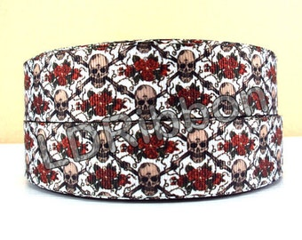 "1"" Skull & Flower Grosgrain Ribbon"