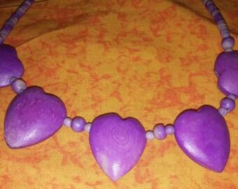 Pretty Amethyst Five Heart Pendant Bead Necklace